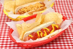 Queso del perrito caliente y del chile con las patatas fritas Foto de archivo libre de regalías