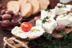 Queso Feta griego del queso con tomillo y aceitunas Foco selectivo, copia Foto de archivo libre de regalías