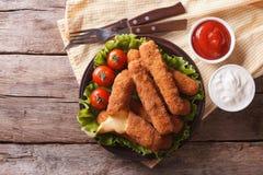 Queso frito con la salsa en una placa visión superior horizontal Fotos de archivo libres de regalías