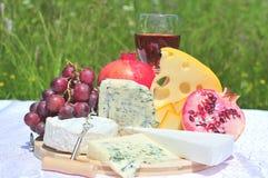 Queso, frutas y vino Imagen de archivo libre de regalías