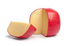 Queso holandés del queso Edam con un cuarto Imagenes de archivo