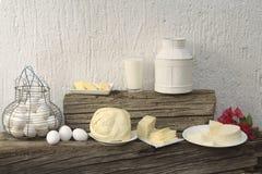 Queso, huevos, leche Imagenes de archivo