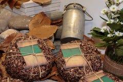 Queso italiano de la leche del ` s de las ovejas: Pecorino envejecido, seca las hojas y Antiq fotografía de archivo