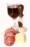 Queso italiano, salami del vino Foto de archivo libre de regalías