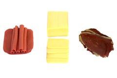 Queso, jamón y Pastrami fotografía de archivo libre de regalías