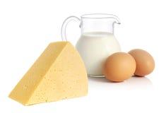 Queso, leche y huevos Imágenes de archivo libres de regalías