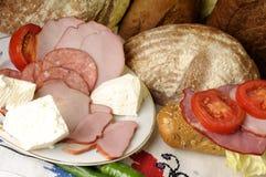 Queso, pan y carne Fotografía de archivo