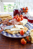 Queso, salami y pan plano Imagen de archivo libre de regalías