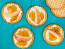 Queso suave del Ricotta con Apple y la miel frescos cortados en una galleta o una galleta Foto de archivo libre de regalías