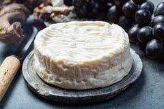 Queso suave francés del camembert, cierre original de Camembert de Normandie para arriba fotografía de archivo