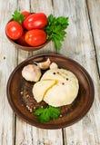 Queso suave, tomates y especias Foto de archivo