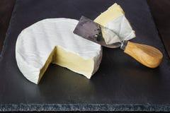 Queso suave y cuchillo del queso Fotografía de archivo