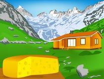 Queso suizo natural de la lechería stock de ilustración