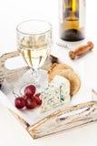 Queso, uvas y vino de Dor Blue Imagen de archivo libre de regalías