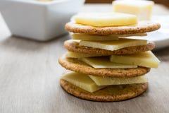 Queso y galletas Imagen de archivo libre de regalías