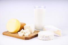 Queso y leche Fotografía de archivo libre de regalías