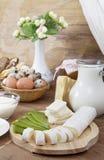 Queso y leche gastrónomos Imágenes de archivo libres de regalías