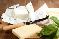 Queso y mantequilla Foto de archivo