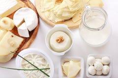 Queso y otros productos lácteos foto de archivo libre de regalías