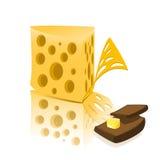 Queso y pan con mantequilla stock de ilustración