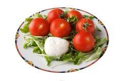 Queso y tomate de la mozarela Fotos de archivo