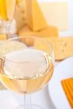 Queso y vidrio de vino Imágenes de archivo libres de regalías