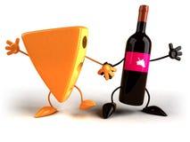 Queso y vino stock de ilustración