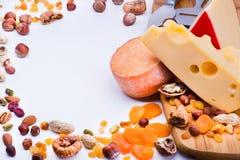 Quesos con las frutas y las nueces secadas Fotografía de archivo libre de regalías