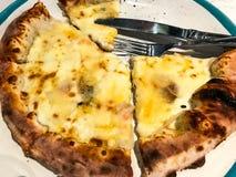 Quesos de la pizza 8, rebanadas cortadas en la placa Fotografía de archivo libre de regalías