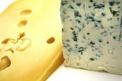 Quesos del suizo y del Roquefort Foto de archivo libre de regalías