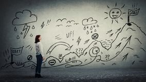 Quest. Businesswoman starting a life quest with obstacles drawn on wall. Self overcome climbing mountain with ups and downs for reaching goals. Difficult road to royalty free stock images
