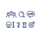 Quest game concept line icons, deduction and logic riddle. Detective game concept, quest playing items, crime investigation, deductive riddle, vector line icons Stock Image