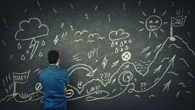 Quest. Rear view of a puzzled businessman having questions in front of a blackboard to cross the difficult quest way with obstacles. Self overcome, reaching stock images
