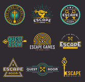 Quest room and escape game logo set. Set of quest room logos templates. Vector badges for real-life escape game design. Collection of emblems isolated on a stock illustration