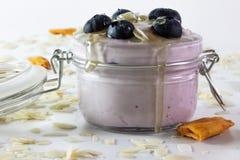 In questa foto possiamo vedere un yogurt di mirtillo fatto a mano con i mirtilli, le mandorle ed il miele Decorato intorno con il fotografia stock