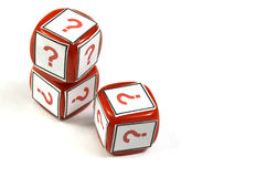 Questiion dice. Red dice with question simbol printed on a white background stock images
