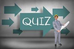 Questionário contra apontar azul das setas foto de stock royalty free