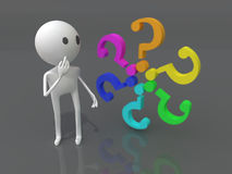 Question. 3d character with a colors question marks Stock Photo
