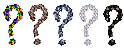 Set of colorful artistic question marks Royalty Free Stock Images