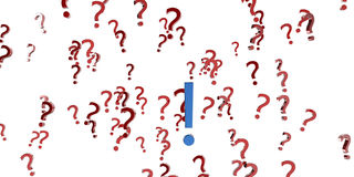 Question. A 3d set of question marks and one exclamation mark isolated on white background Stock Photo