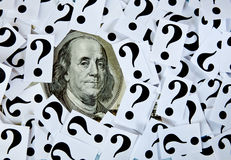 Question. Mark and one hundred dollar bill Stock Image