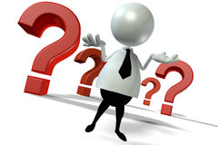 Question. 3d human standing in front question marks and wondering Royalty Free Stock Photo