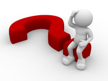 Question. 3d person character sitting on a question mark Stock Photography