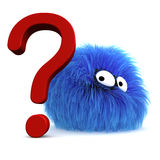 And The Question Is?. Furbul CG character next to a large question mark Stock Photography