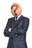 Question. Businessman with Egg Head. Question Royalty Free Stock Photo