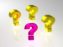 Question. Many question. 3d isolated object Royalty Free Stock Images
