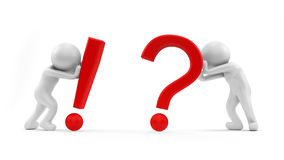 Question. 3d render of an exclamation and question mark Stock Image