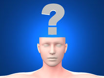 Question. A generic questioning person. Question mark in the head. 3D rendered Illustration Stock Photo