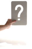 The question. Man Looking at the question isolate don white Royalty Free Stock Photo