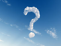 Question. Mark on blue sky - 3d illustration Stock Images